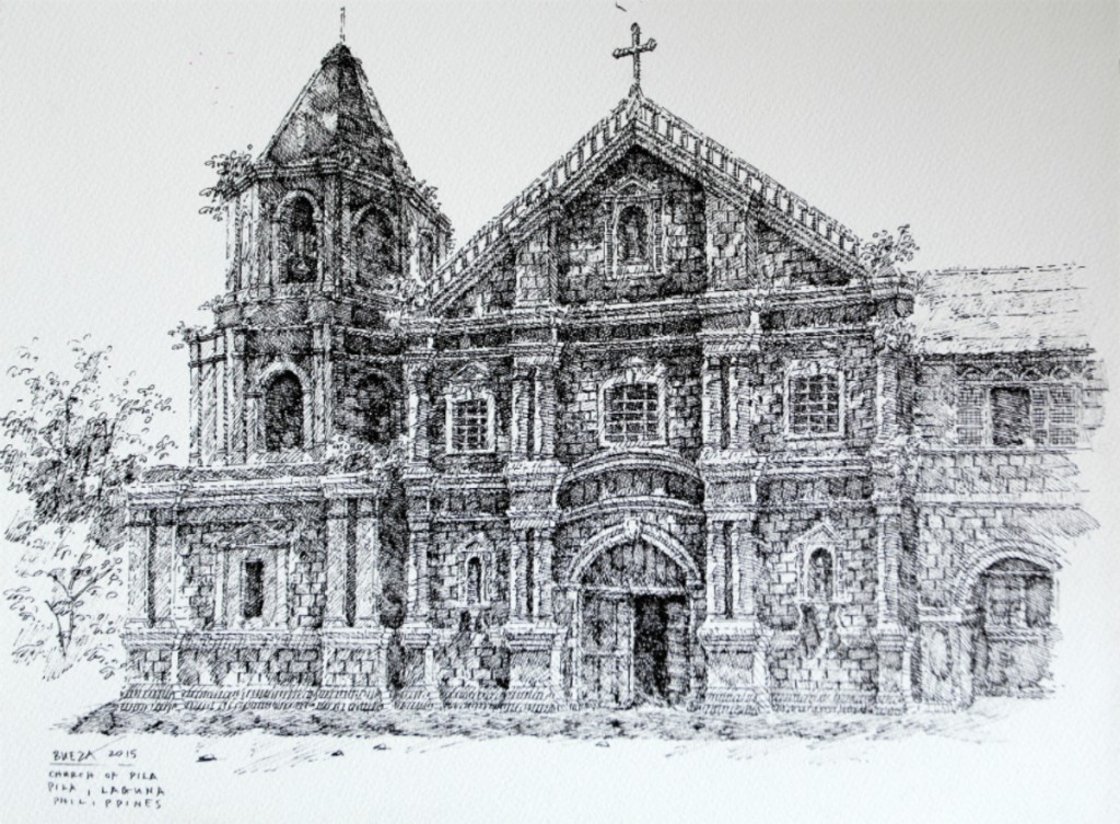 Noel Bueza - Church of Pila, Pila Laguna, Philippines, Pen and Ink on Paper 2015