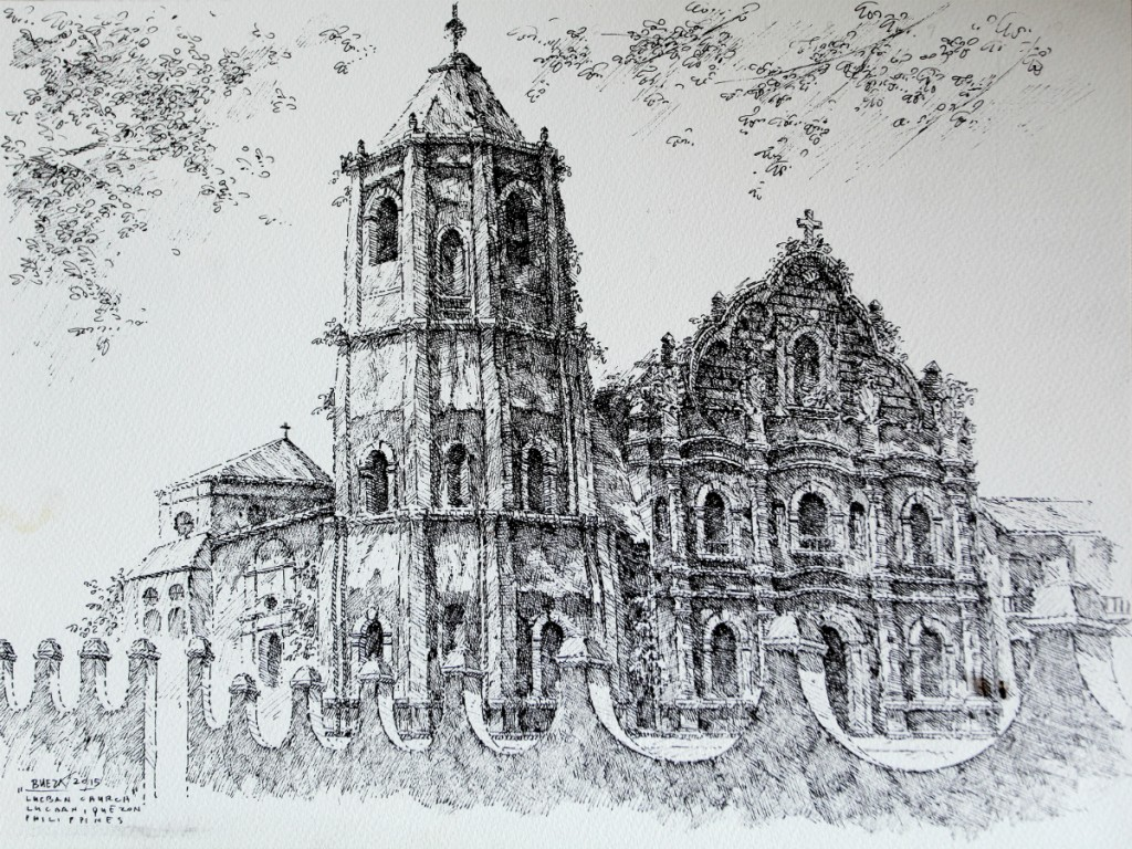 Noel Bueza -; Lucban Church, Lucban Quezon. Philippines. Pen & Ink on Paper 2015