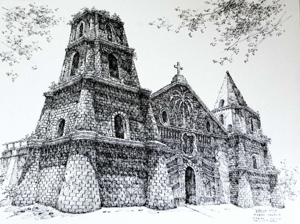 Noel Bueza - Miagao Church, Miagao Iloilo, Philippines, Pen &; Ink on Paper 2015