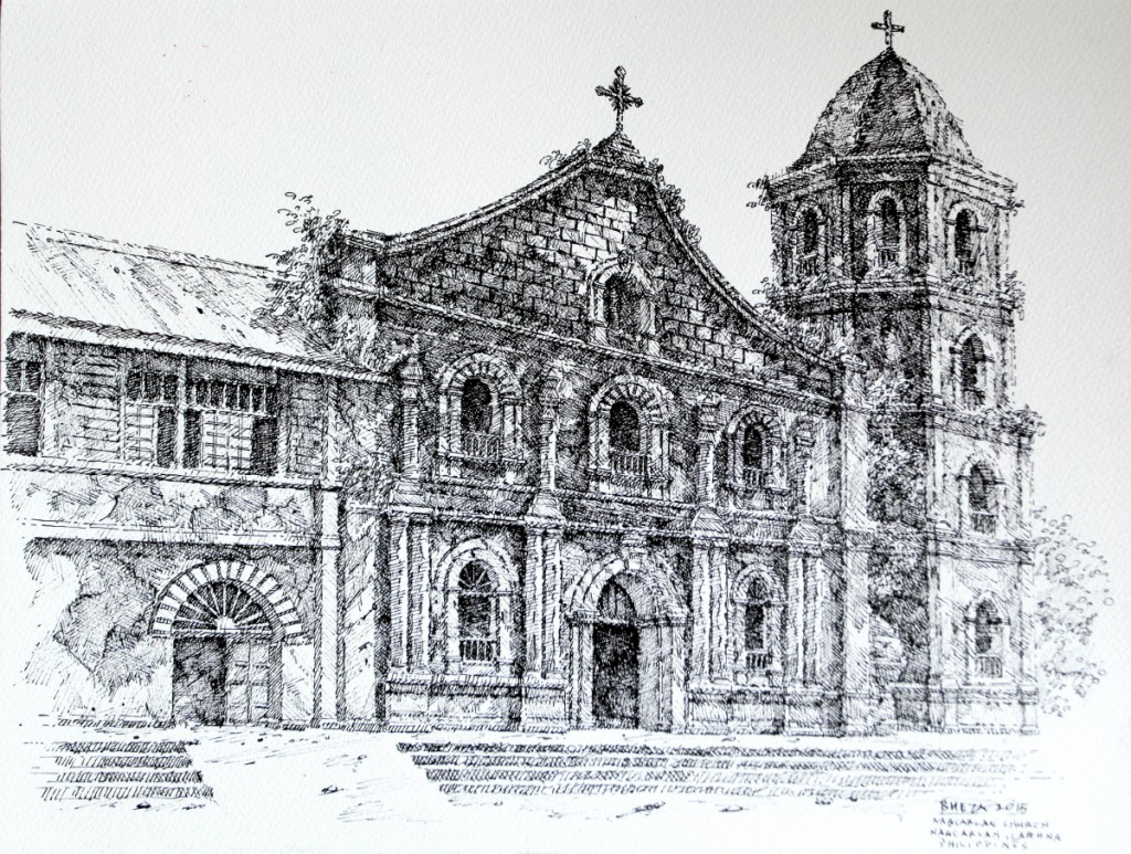 Noel Bueza - Nagcarlan Church, Nagcarlan Laguna, Philippines, Pen & Ink on Paper 2015