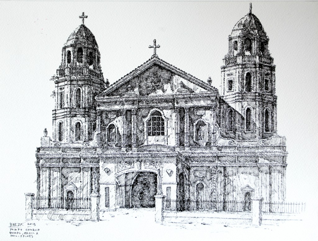 Noel Bueza - Quiapo Church, Quiapo Manila, Philippines, Pen and Ink on Paper 2015