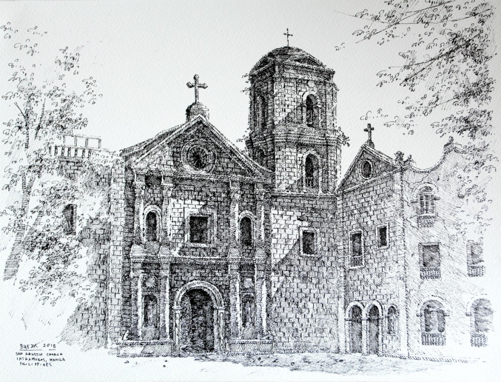 Noel Bueza - San Agustin Church, Intramuros Manila, Philippines, Pen & Ink on Paper 2015