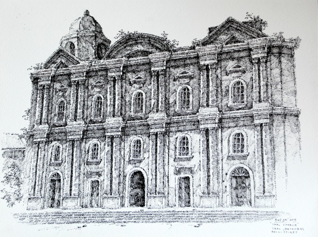 Noel Bueza - Taal Church, Taal Batangas, Philippines, Pen & Ink on Paper 2015