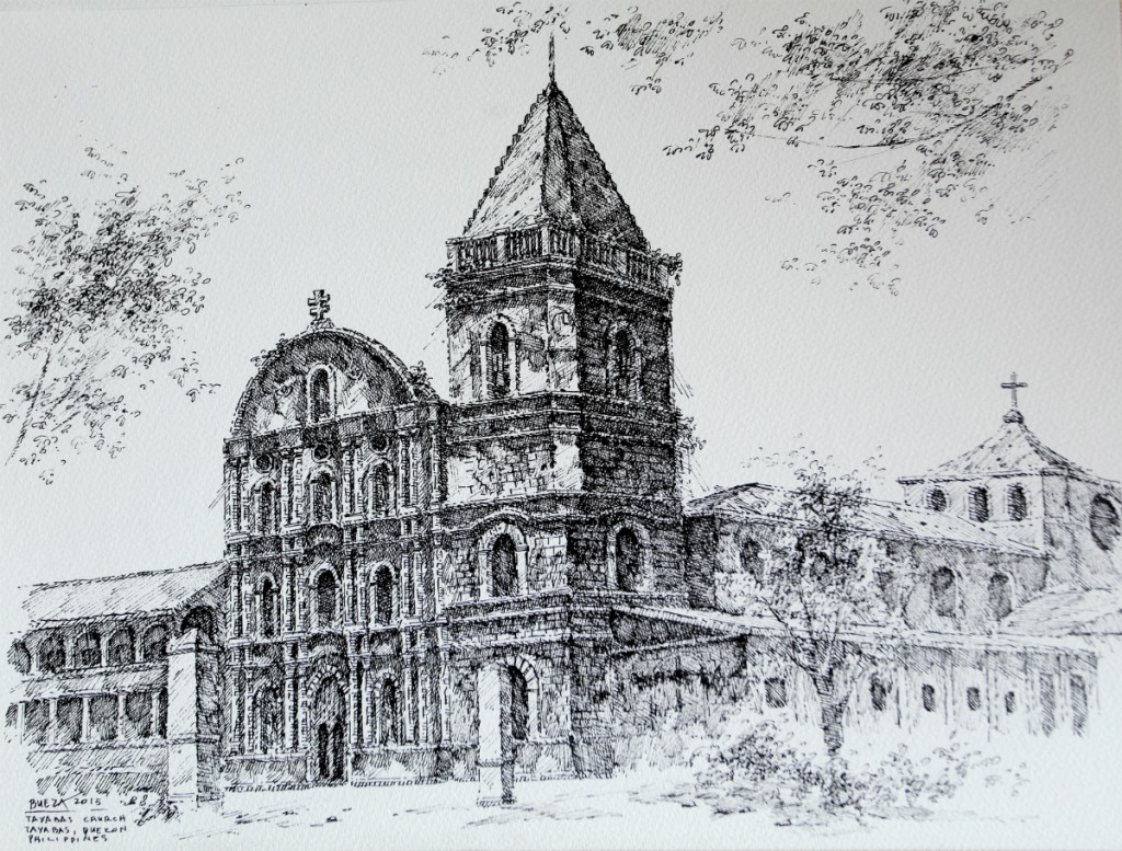 Noel Bueza - Tayabas Church, Tayabas Quezon, Philippines, Pen & Ink on Paper 2015
