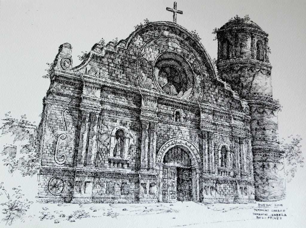 Noel Bueza - Tumauini Church, Tumauini Isabela, Philippines, Pen & Ink on Paper 2015